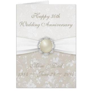Damast-30. Hochzeitstag-Gruß-Karte Grußkarte