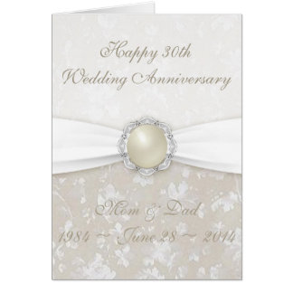 Damast-30. Hochzeitstag-Gruß-Karte Karte