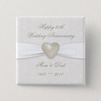 Damast-30. Hochzeitstag-Knopf Quadratischer Button 5,1 Cm