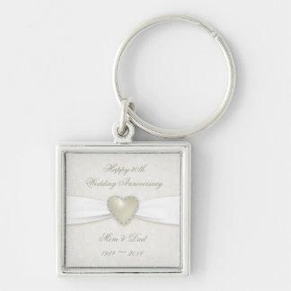 Damast-30. Hochzeitstag-Schlüsselkette Schlüsselanhänger