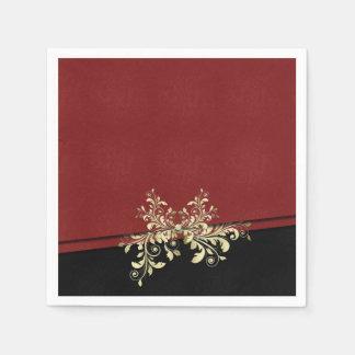 Damast-Art-Weihnachtsrote Goldservietten Serviette