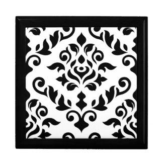 Damast-barockes Entwurfs-Schwarzes auf Weiß Schmuckschachtel