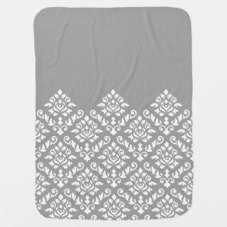 Damast-barockes großes Teil Ptn Weiß auf Grau Babydecke