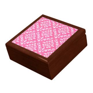 Damast-barockes Muster-Licht auf dunklem Rosa Schmuckschachtel