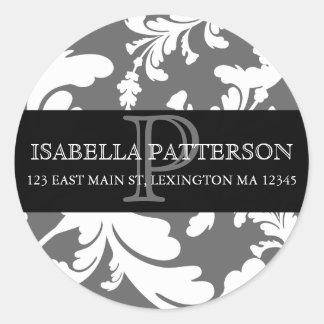 Damast-Blumenmonogramm-Kreis-Adressen-Etikett Aufkleber