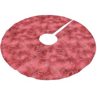 Damast-Blumenschimmer-Rose rotes ID461 Polyester Weihnachtsbaumdecke