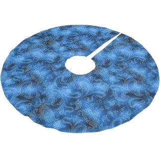 Damast-Blumenschimmer-Saphir blaues ID461 Polyester Weihnachtsbaumdecke