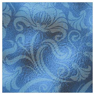 Damast-Blumenschimmer-Saphir blaues ID461 Stoff