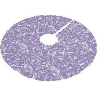 Damast-Blumenschimmer-Silber irgendein Hintergrund Polyester Weihnachtsbaumdecke