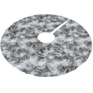 Damast-Blumenschimmer-silbernes Grau ID461 Polyester Weihnachtsbaumdecke