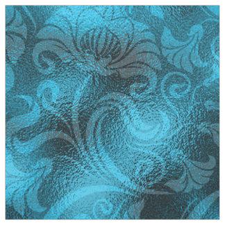 Damast-Blumenschimmer-Türkis-Blau ID461 Stoff