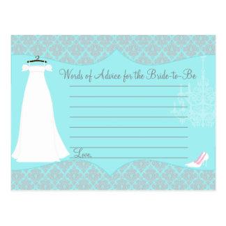 Damast-Brautparty-Ratekarte für die Braut Postkarte