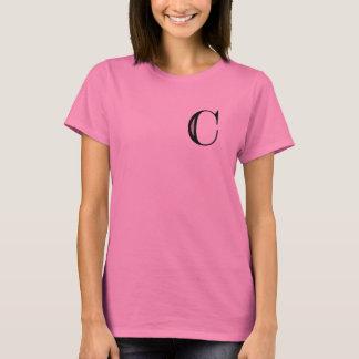 Damast-Buchstabe C - Schwarzes T-Shirt