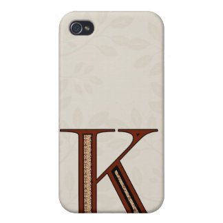 Damast-Buchstabe K - Rot iPhone 4 Cover