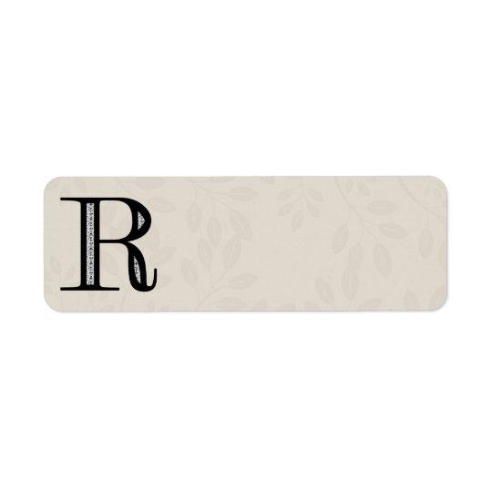 Damast-Buchstabe R - Schwarzes Rücksendeetiketten