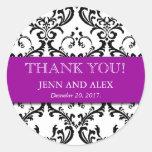 Damast danken Ihnen die lila Hochzeits-Aufkleber-B