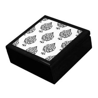 Damast-dekoratives Muster-Schwarzes auf Weiß Erinnerungskiste