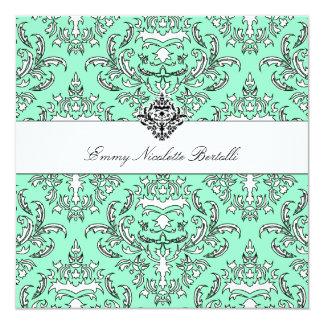 Damast-Einladung des Meergrün-311-Emmy Quadratische 13,3 Cm Einladungskarte