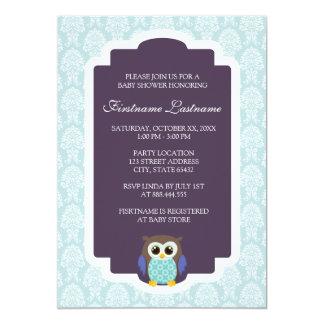 Damast-elegante Eulen-Babyparty-Einladungen