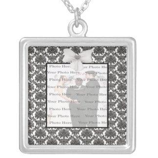 Damast-Eleganz-Hochzeits-Silber-Quadrat-Halskette Halskette Mit Quadratischem Anhänger