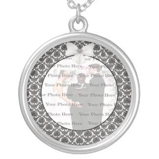 Damast-Eleganz-Hochzeits-Silber-runde Halskette