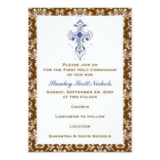 Damast-erste heilige Kommunions-Taufe-Bestätigung 12,7 X 17,8 Cm Einladungskarte