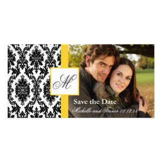 Damast-Foto-Save the Date - Gelb Foto Karte