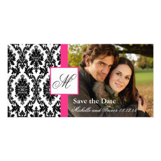 Damast-Foto-Save the Date - heißes Rosa Photogrußkarten