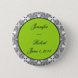 Damast-Freuden-Limones Grün Runder Button 5,7 Cm