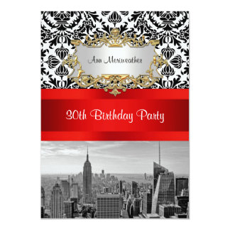 Damast-Geburtstags-Party NY StadtSkyline BW 432 V 12,7 X 17,8 Cm Einladungskarte