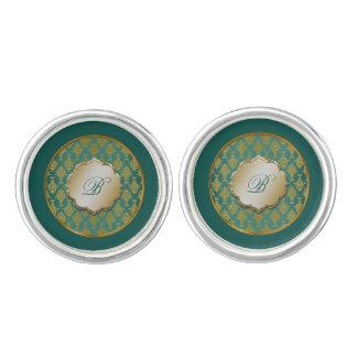 Damast-Gold auf aquamarinem grünem Monogramm Manschettenknöpfe
