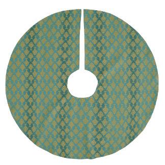 Damast-Gold auf aquamarinem grünem Ombre Polyester Weihnachtsbaumdecke