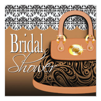 Damast-Handtaschen-Paisley-Geldbeutel-Brautparty Quadratische 13,3 Cm Einladungskarte