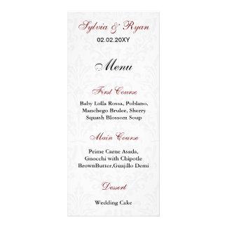 Damast-Hochzeits-Menüs Werbekarte
