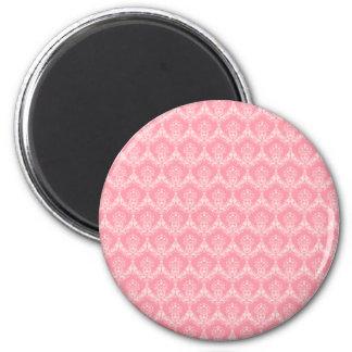 Damast im Rosa Runder Magnet 5,7 Cm
