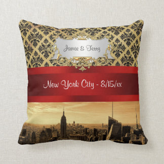 Damast-Kissen NY Stadt-Skylinesepia-B4 Kissen