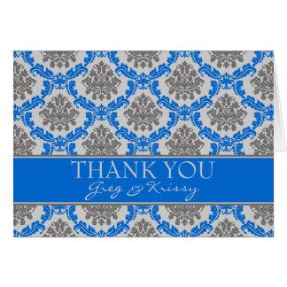 Damast-königliches Blau dankt Ihnen Karte