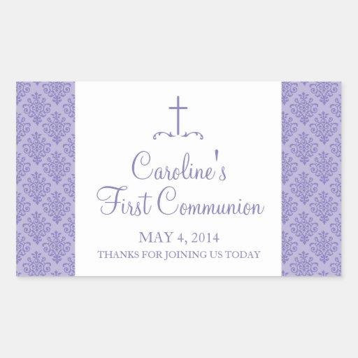 Damast-Kreuz-erste Kommunion Rechtecksticker