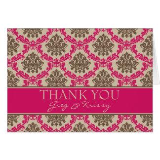 Damast-Magenta und Brown danken Ihnen Karte