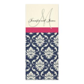Damast-Monogramm-blaue rosa 10,2 X 23,5 Cm Einladungskarte