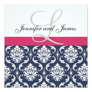 Damast-Monogramm-blaue rosa weiße Quadratische 13,3 Cm Einladungskarte