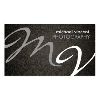 Damast-Monogramm-Fotograf-Visitenkarte