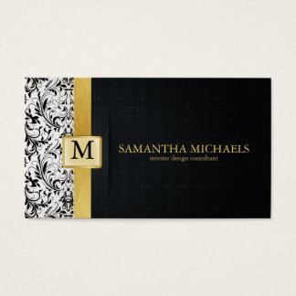 Damast-Monogramm-Innenarchitektur-Visitenkarten Visitenkarte