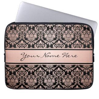 Damast-Muster der Rosen-Goldsteigungs-  auf Laptopschutzhülle