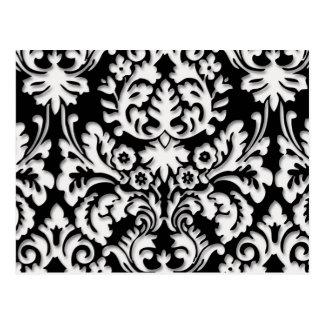 Damast-Muster in Schwarzem u. im Weiß Postkarte