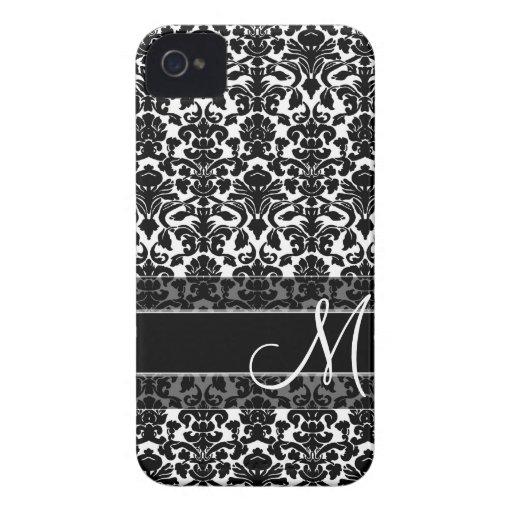 Damast-Muster mit Monogramm iPhone 4 Case-Mate Hülle