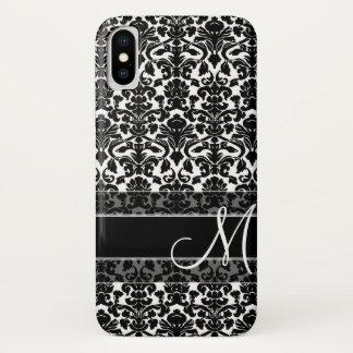 Damast-Muster mit Monogramm iPhone X Hülle