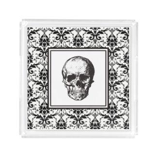 Damast-Muster-Schädel HALLOWEENS schwarze gotische Acryl Tablett