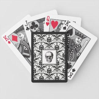 Damast-Muster-Schädel HALLOWEENS schwarzer Bicycle Spielkarten