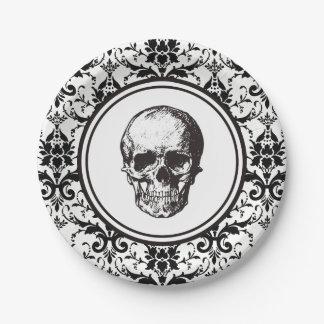 Damast-Muster-Schädel HALLOWEENS schwarzer gotisch Pappteller